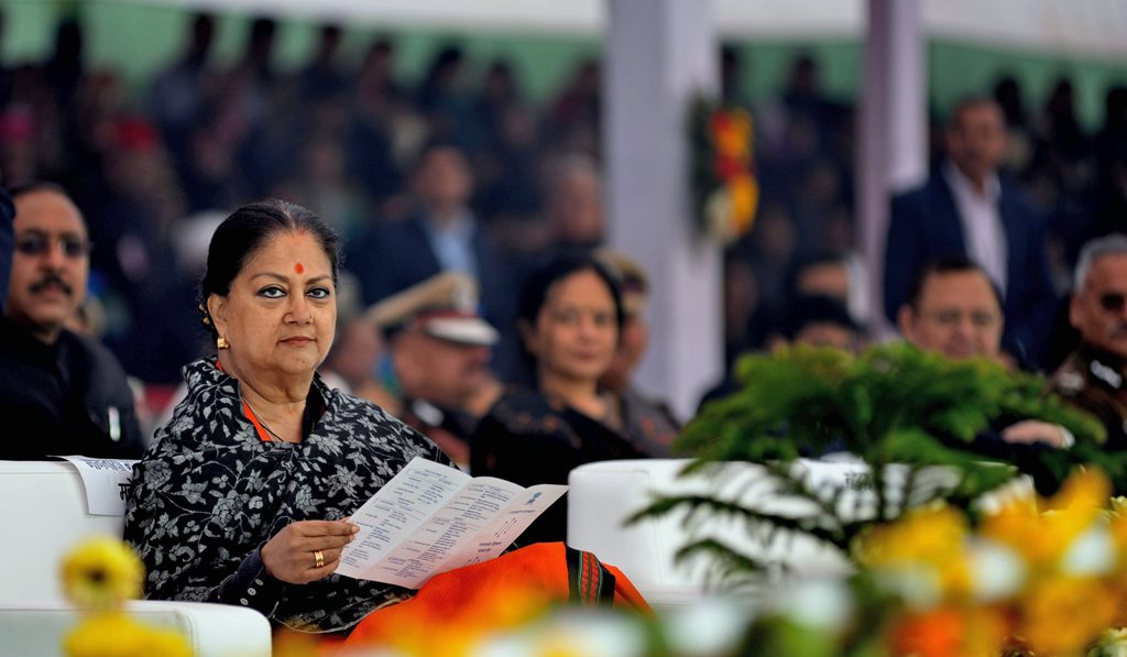 Bharatpur: Rajasthan Chief Minister Vasundhara Raje during Republic Day function in Bharatpur on Friday. PTI Photo (PTI1_26_2018_000352B)