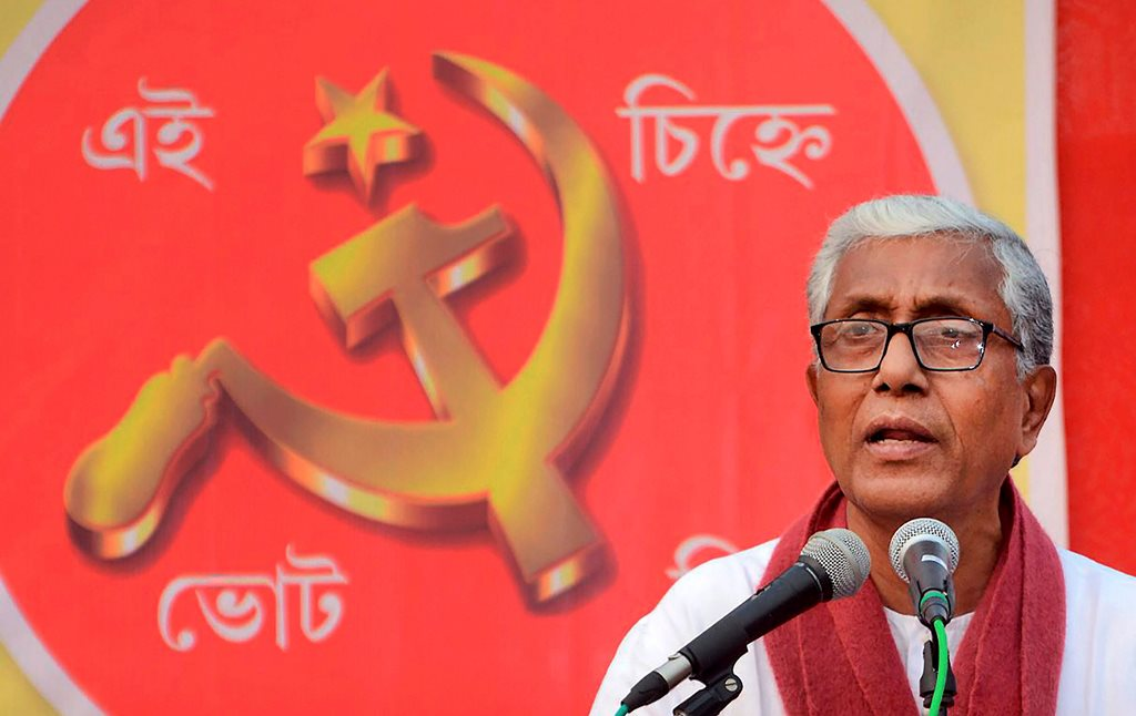 Gandhigram: Tripura Chief Minister Manik Sarkar addresses an election campaign rally at Gandhigram on Saturday. PTI Photo (PTI2_3_2018_000129B)