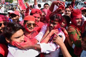 Allahabad: Samajwadi party workers celebrate their party success in Phulpur by-election, in Allahabad on Wednesday. PTI Photo(PTI3_14_2018_000073B)