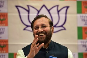 Bengaluru: Union Human Resources Development minister Prakash Javadekar at a book release during the press conference, in Bengaluru on Thursday. PTI Photo by Shailendra Bhojak(PTI3_1_2018_000079B)