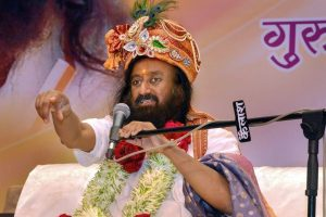 Jabalpur: Art of Living founder Sri Sri Ravi Shankar speaks during Mahasatsang 'Shakti Sangam' at Jabalpur on Thursday. PTI Photo (PTI3_8_2018_000023B)