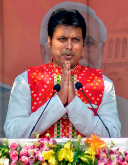 Agartala: Tripura BJP President Biplab Kumar Deb after being sworn-in as the 10th chief minister of the state, in Agartala on Friday. PTI Photo (PTI3 9 2018 000103B) *** Local Caption ***