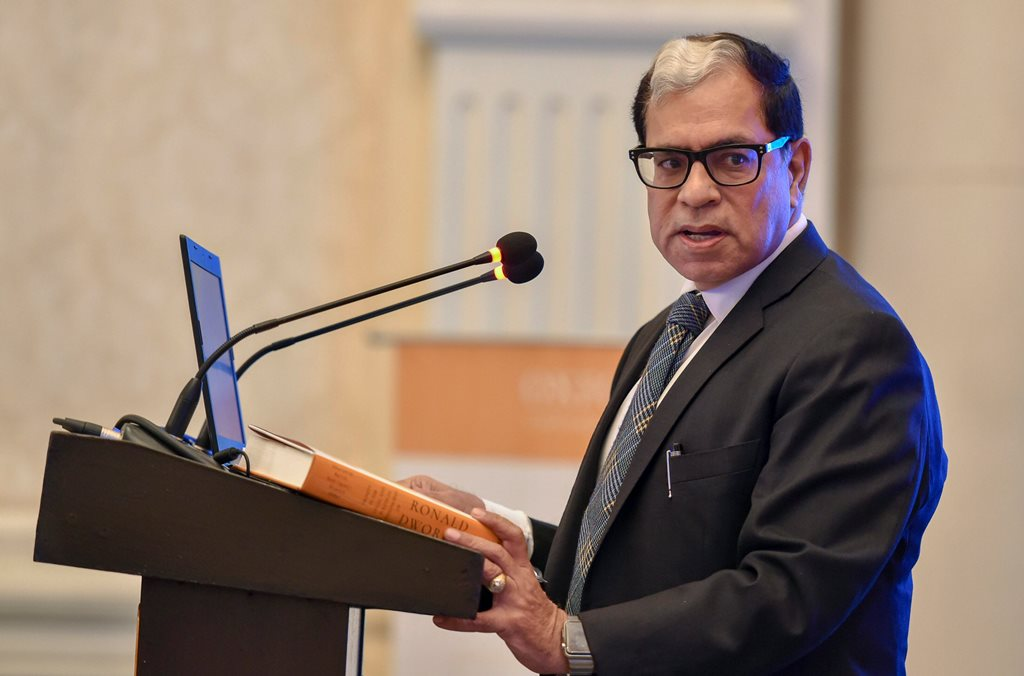 New Delhi: Supreme Court of India Judge Justice A.K. Sikri attends the Oxford University Press book release of 'Dignity in the Legal and Political Philosophy of Ronald Dworkin' in New Delhi, on Monday. (PTI Photo/Arun Sharma) (PTI5_14_2018_000192B)