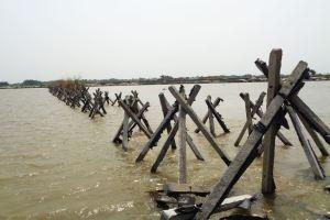 कोसी की एक धारा को मोड़ कर दूसरी धारा से मिलाने के लिए पानी में कंक्रीट के पिलर डाले गए हैं. (फोटो: उमेश कुमार राय/द वायर)