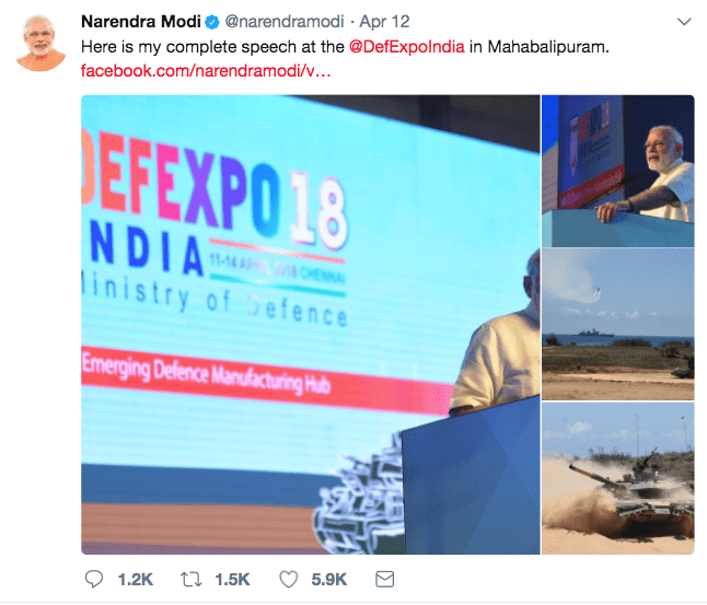 Modi Tweet Defence Expo