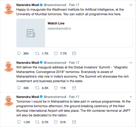 Modi Tweet Maharashtra Institute