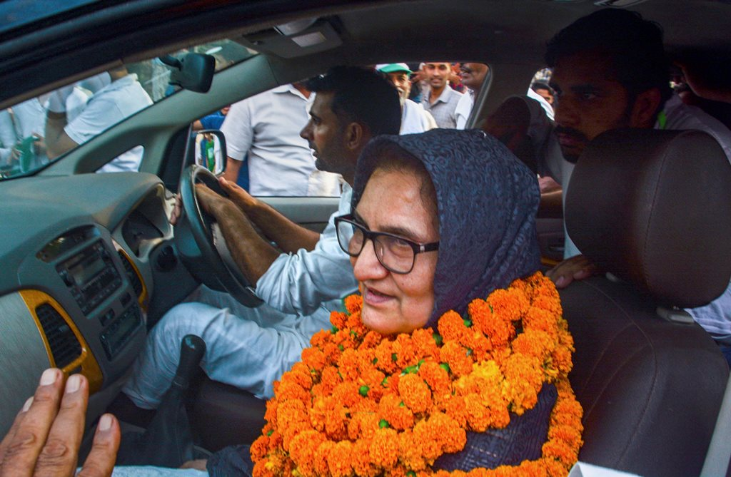 Kairana: Rashtriya Lok Dal (RLD) candidate Tabassum Hasan outside the counting centre after winning the Kairana Lok Sabha by-election, in Kairana on Thursday, May 31, 2018. Hasan was also supported by the Congress, Samajwadi Party and Bahujan Samaj Party. (PTI Photo)(PTI5_31_2018_000142B)