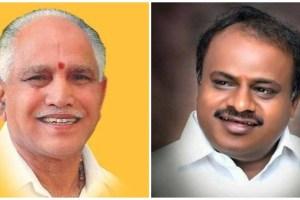 बीएस येदियुरप्पा और एडी कुमारस्वामी. (फोटो साभार: फेसबुक/ट्विटर)