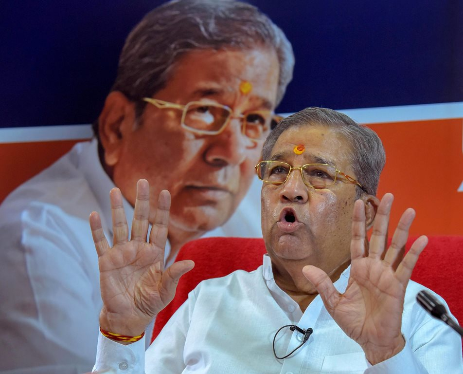 Jaipur: BJP MLA Ghanshyam Tiwari addresses a press conference, in Jaipur on Monday, June 25, 2018. (PTI Photo) (PTI6_25_2018_000148B)