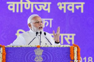 New Delhi: Prime Minister Narendra Modi addresses during the foundation stone laying ceremony of 'Vanijya Bhawan' at Akbar Road, in New Delhi on Friday, June 22, 2018. (PIB photo via PTI)(PTI6_22_2018_000038B)