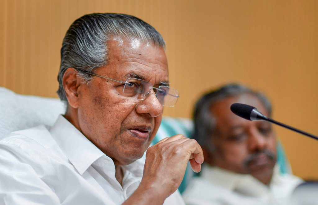 New Delhi: Kerala CM Pinarayi Vijayan during a press conference in New Delhi on Saturday,June 23,2018.( PTI Photo/ Atul Yadav)(PTI6_23_2018_000063B)