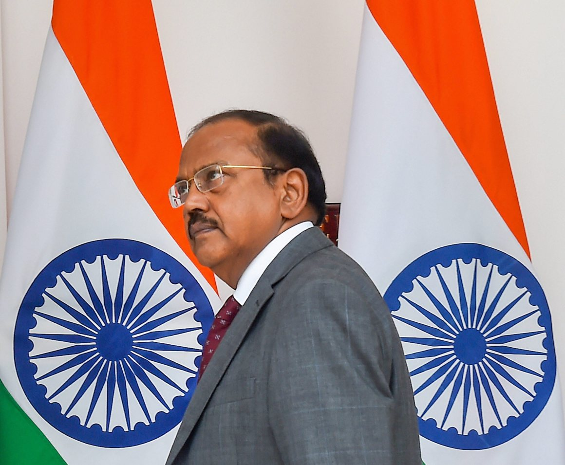 New Delhi: NSA Ajit Doval arrives to attend a delegation level meeting between India and South Korea, at Hyderabad House, in New Delhi on Tuesday, July 10, 2018. (PTI Photo /Kamal Singh) (PTI7_10_2018_000082B)