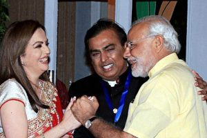 PM Narendra Modi is welcomed by Reliance Industries' Nita Ambani and Mukesh Ambani on his arrival for the re-dedication and inauguration of HN Reliance Foundation Hospital in Mumbai. PTI