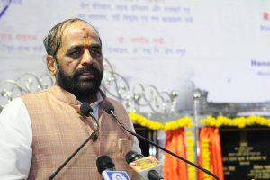 The Minister of State for Home Affairs, Shri Hansraj Gangaram Ahir addressing at the inaugural function of sea route to Baratang Island, foundation stone laying ceremony of extension of new dry dock at Port Blair, extension of wharf at Hope Town, construction of additional jetty and extension of Berthing Jetty in Neil Island, at Port Blair, Andaman & Nicobar Islands on October 05, 2017.