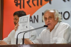New Delhi: Former Union minister and Congress leader Jairam Ramesh addresses a press conference at AICC headquarters in New Delhi on Saturday, Aug 11, 2018. (PTI Photo/Manvender Vashist) (PTI8_11_2018_000055B)