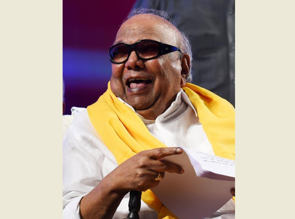 **FILE** New Delhi: A file picture of DMK chief M Karunanidhi who passed away on Tuesday, Aug 7, 2018, after a prolonged illness, at a Chennai hospital where he was admitted for some days. He was 94. (PTI Photo) (STORY TAR34, TAR35, LND35, KYD35) (PTI8_7_2018_000237B)