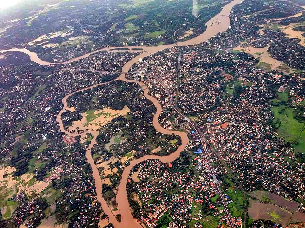 Aluva: An aeriel view of the floods in Aluva after heavy rains, in Kerala on Friday, Aug 10, 2018. (PTI Photo)(PTI8_10_2018_000220B)