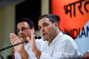 New Delhi: Congress President Rahul Gandhi addresses a press conference at AICC headquarters in New Delhi on Thursday, August 30, 2018. (PTI Photo/Kamal Singh)  (PTI8_30_2018_000215B)