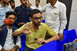 New Delhi: Jawaharlal Nehru University (JNU) student Umar Khalid speaks to the media moments after he was shot at, during an event at the Constitution Club in New Delhi on Monday, Aug 13, 2018. Khalid escaped unhurt. (PTI Photo/Shahbaz Khan) (PTI8_13_2018_000097B)