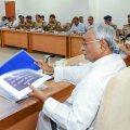 Patna: Bihar Chief Minister Nitish Kumar attends high level meeting of law and order, in Patna, Wednesday, Sept 12, 2018. (PTI Photo) (PTI9_12_2018_000171B)