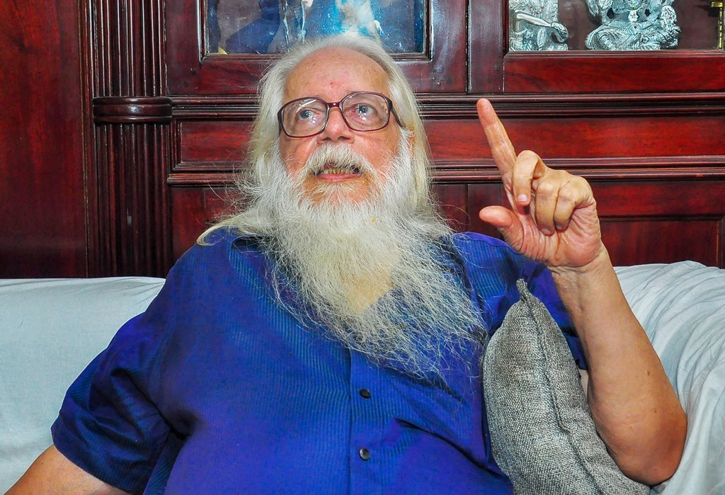 "Thiruvananthapuram: Former ISRO scientist Nambi Narayanan speaks to media, in Thiruvananthapuram, Friday, Sept 14, 2018. The Supreme Court today held Narayanan was ""arrested unnecessarily, harassed and subjected to mental cruelty"" in a 1994 espionage case and ordered a probe into the role of Kerala police officers. (PTI Photo) (PTI9_14_2018_000099A)"
