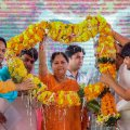 Baran: Rajasthan Chief Minister Vasundhara Raje being garlanded during 'Rajasthan Gaurav Yatra', near Baran, Saturday, Sept 15, 2018. (PTI Photo) (PTI9_15_2018_000121B)