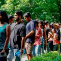 New Delhi: Jawaharlal Nehru University (JNU) students wait to place their votes during the students' union polls, in New Delhi, Friday, Sept 14, 2018. (PTI Photo/Ravi Choudhary) (PTI9_14_2018_000142B)