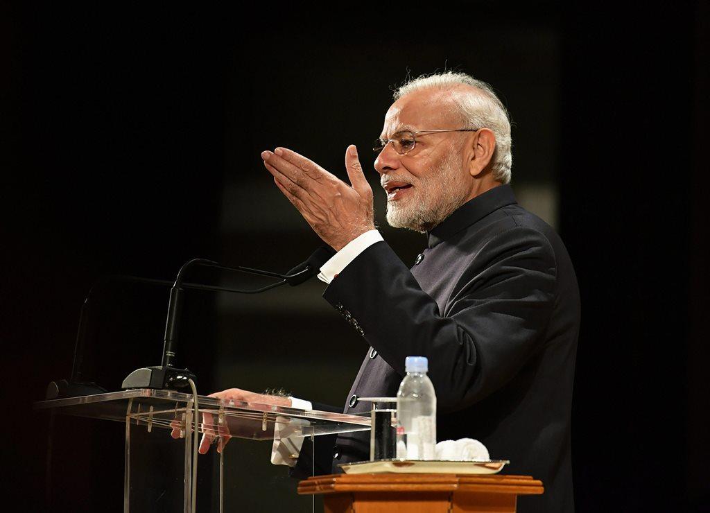 Tokyo: Prime Minister Narendra Modi addresses the Indian diaspora at an event, in Tokyo, Monday, Oct 29, 2018. (PIB Photo via PTI)(PTI10_29_2018_000024)