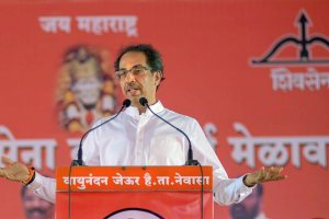 Shirdi: Shiv Sena President Uddhav Thackeray speaks at a rally, in Shirdi, Sunday, Oct 21, 2018. (PTI Photo) (PTI10_21_2018_000214B)