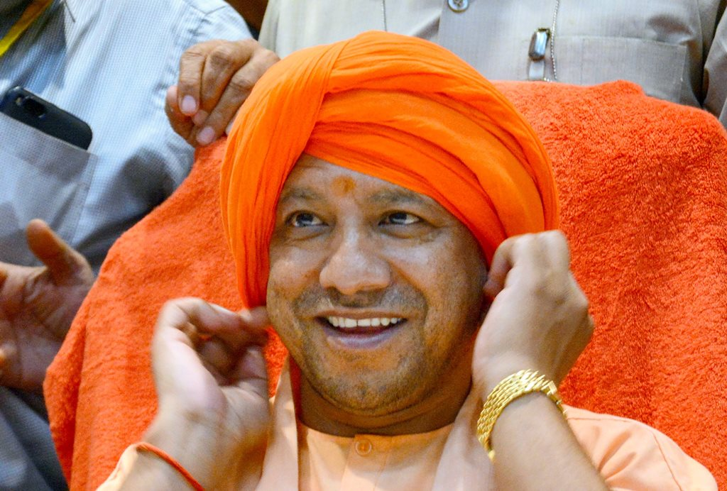 Lucknow: Uttar Pradesh Chief Minister Yogi Adityanath during a BJP Sikh Samaj Sammelan, in Lucknow, Monday, Oct 29, 2018. (PTI Photo)(PTI10_29_2018_000208B)