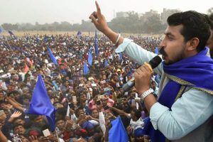 Patna: Bhim Army chief Chandrashekhar Azad addresses a public rally at Gandhi Maidan in Patna, Wednesday, November 21, 2018. (PTI Photo) (PTI11_21_2018_000059B)