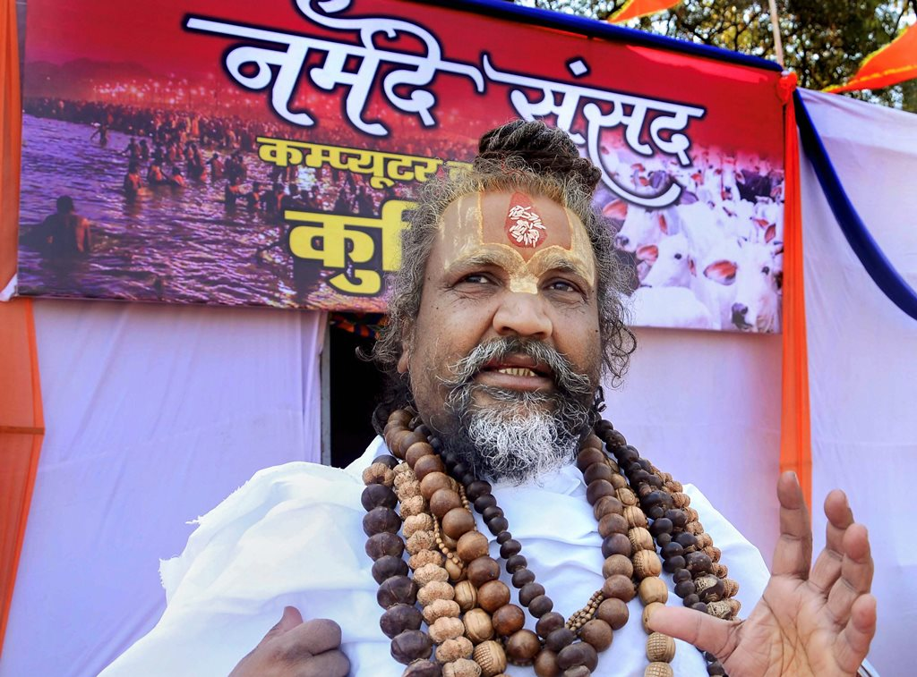 Jabalpur: Spiritual leader Namdeo das Tyagi, popularly known as 'Computer baba' talks to the media during 'Narmade Sansad' program in Jabalpur, Thursday, Nov. 22, 2018. (PTI Photo) (PTI11_22_2018_000065B)