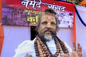 Jabalpur: Spiritual leader Namdeo das Tyagi, popularly known as 'Computer baba' talks to the media during 'Narmade Sansad' program in Jabalpur, Thursday, Nov. 22, 2018. (PTI Photo) (PTI11_22_2018_000065B)