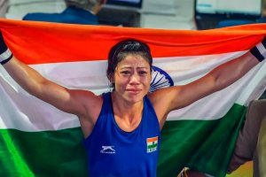 New Delhi: Indian boxer Mary Kom (in Blue) gets emotional as she celebrates after winning the final match of women's light flyweight 45-48 kg against Ukraine's Hanna Okhota at AIBA Women's World Boxing Championships, in New Delhi, Saturday, Nov. 24, 2018. (PTI Photo/Ravi Choudhary) (PTI11_24_2018_000052)