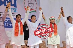 एक रैली के दौरान कांग्रेस अध्यक्ष राहुल गांधी, कमलनाथ, ज्योतिरादित्य सिंधिया व अन्य (फोटो: पीटीआई)