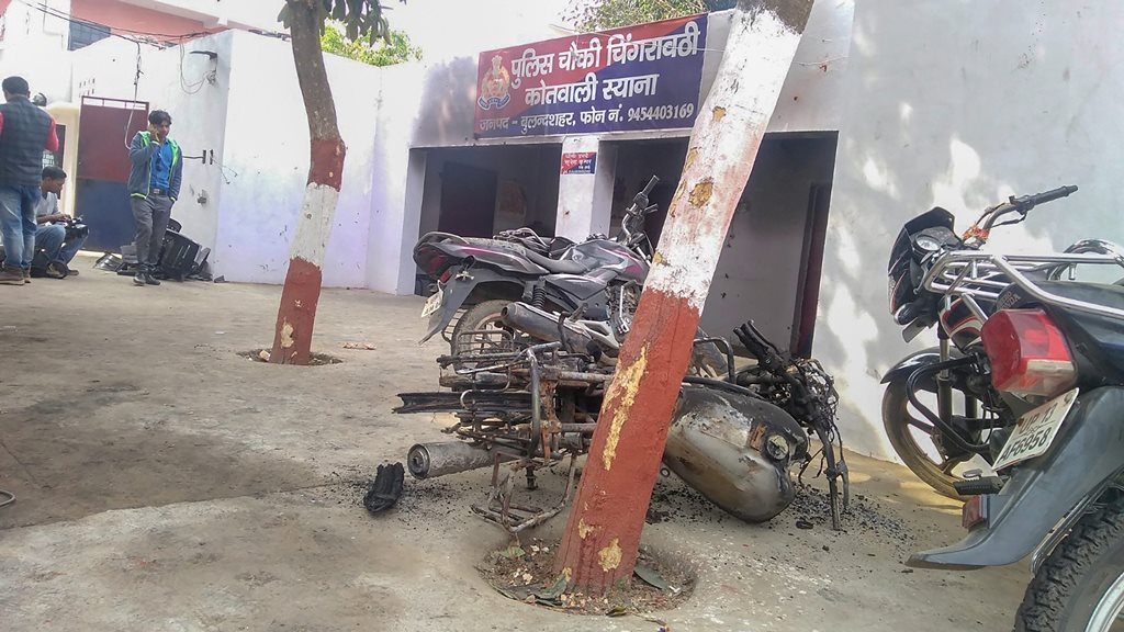 Bulandshahr: The police chowki which was attacked by the mob in Monday's violent protests over the alleged illegal slaughter of cattle, in Bulandshahr, Tuesday, Dec. 4, 2018. The violence left a police inspector Subodh Kumar Singh dead. (PTI Photo) (PTI12_4_2018_000046B)