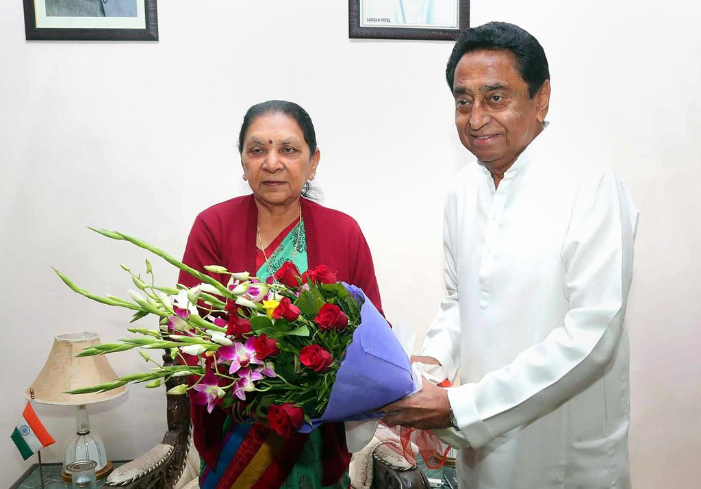 Bhopal: Congress leader Kamal Nath meets Madhya Pradesh Governor Anandiben Patel who invited him to form the new government in the state, at Raj Bhawan in Bhopal, Friday, Dec 14, 2018. (PTI Photo) (PTI12_14_2018_000088)