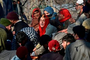 Pulwama: Villagers wail while attending the funeral of civilians and militants who were killed in the encounter between security forces and militants, in Pulwama, south Kashmir, Saturday, Dec 15, 2018. 7 civilians, 3 militants and an army soliders have been killed in the encounter. (PTI Photo/S. Irfan) (PTI12_15_2018_000106B)