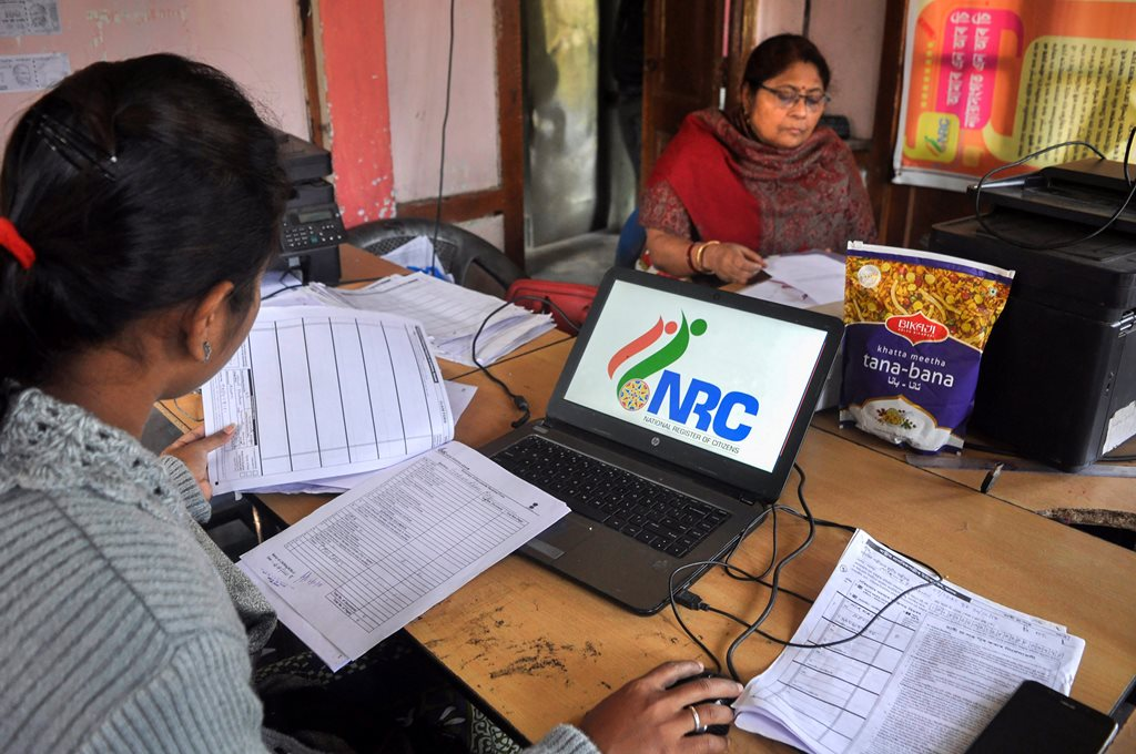 Guwahati: Data entry operators of National Register of Citizens (NRC) carry out correction of names and spellings at an NRC Seva Kendra at Birubari in Guwahati, Wednesday, Jan 2, 2019. The correction works are scheduled to end on January 31, 2019. (PTI Photo) (PTI1_2_2019_000037B)