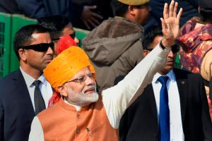 New Delhi: Prime Minister Narendra Modi waves at the crowd after attending the 70th Republic Day celebrations at Rajpath, in New Delhi, Saturday, Jan. 26, 2019. (PTI Photo/ Kamal Kishore)(PTI1_26_2019_000021B)