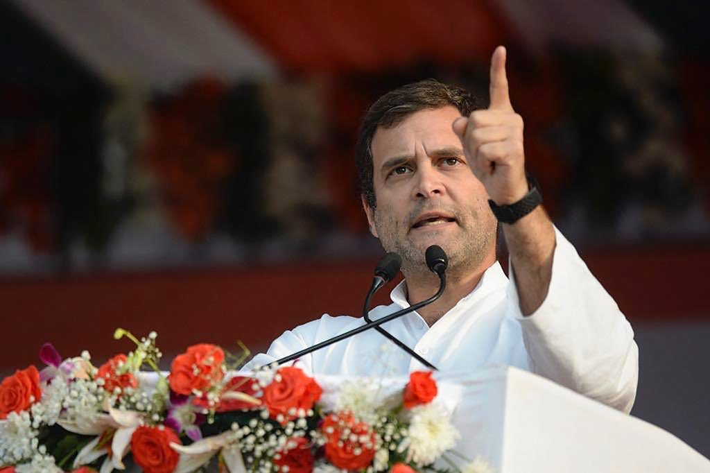 Raipur: Congress President Rahul Gandhi addresses a convention of farmers, at Rajyotsav Mela ground in Naya Raipur, Monday, Jan 28, 2019. (PTI Photo) (PTI1_28_2019_000141B)