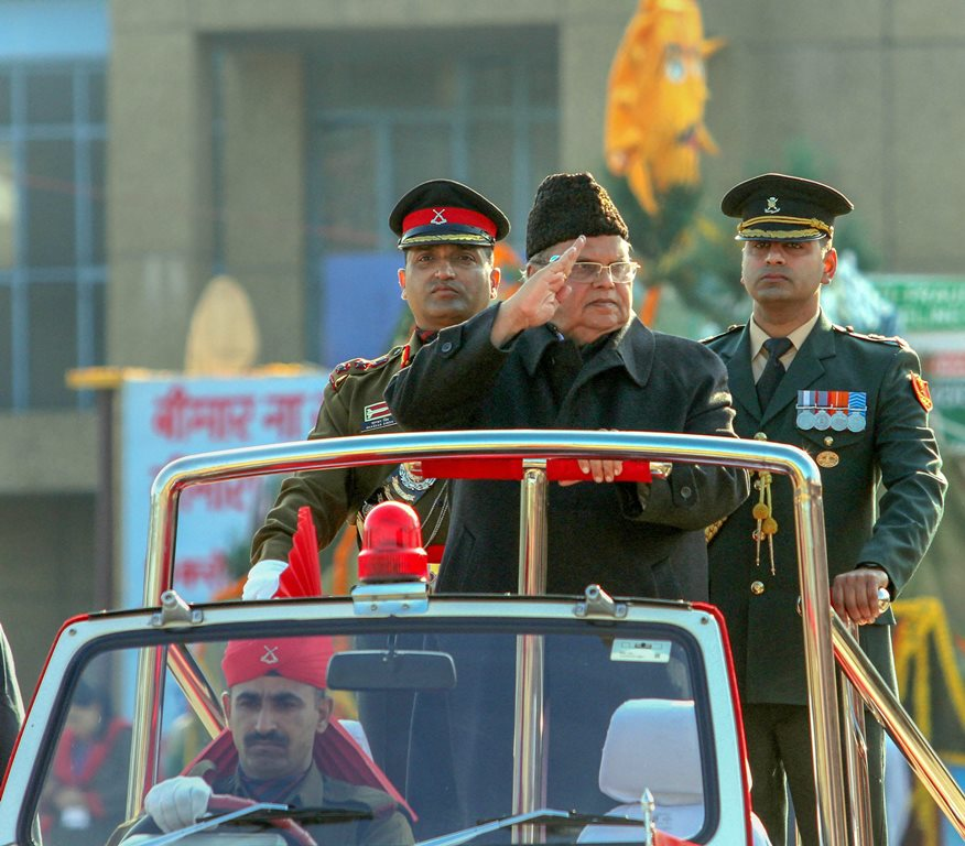 Jammu: Jammu and Kashmir Governor Satya Pal Malik inspects the guard of honour during the 70th Republic Day celebrations, in Jammu, Saturday, Jan. 26, 2019. (PTI Photo)(PTI1_26_2019_000161B)