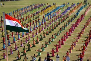 Jaipur: Students perform during the 70th Republic Day celebrations at Sawai Mansingh Stadium in Jaipur, Saturday, Jan 26, 2019. (PTI Photo)(PTI1_26_2019_000301B)