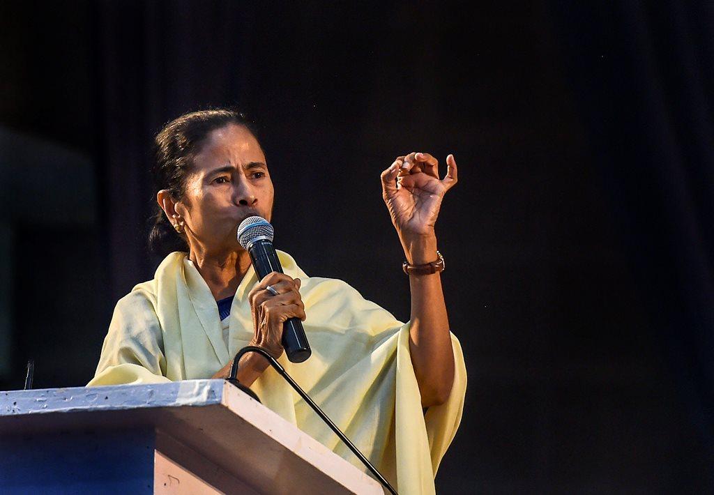 Kolkata: West Bengal chief minister and Trinamool Congress chief Mamata Banerjee addresses the party's extended Core Committee meeting in Kolkata, Monday, Feb 25, 2019. (PTI Photo/Swapan Mahapatra) (PTI2_25_2019_000127B)