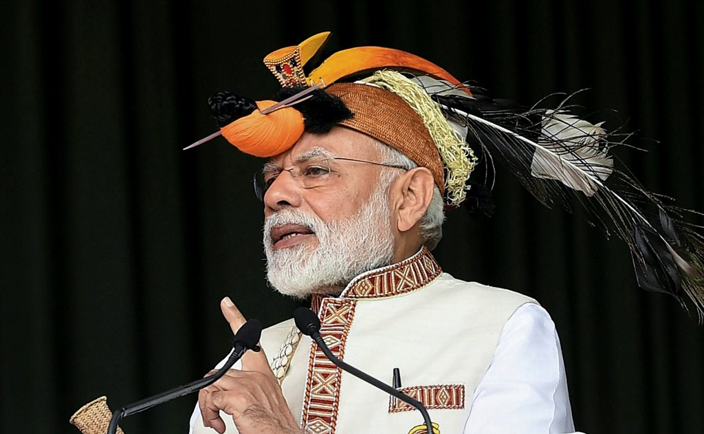 Itanagar: Prime Minister Narendra Modi addresses the gathering at the inauguration of several development projects, in Itanagar, Saturday, Feb 9, 2019. (PIB Photo via PTI) (PTI2_9_2019_000034B)