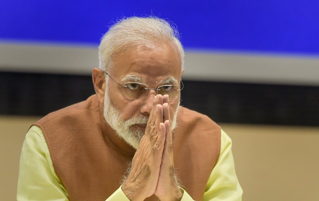 New Delhi: Prime Minister Narendra Modi gestures during the CSIR's Shanti Swarup Bhatnagar Prize for Science and Technology 2016-2018 ceremony in New Delhi, Thursday, Feb 28, 2019. (PTI Photo/Vijay Verma) (PTI2_28_2019_000105B)