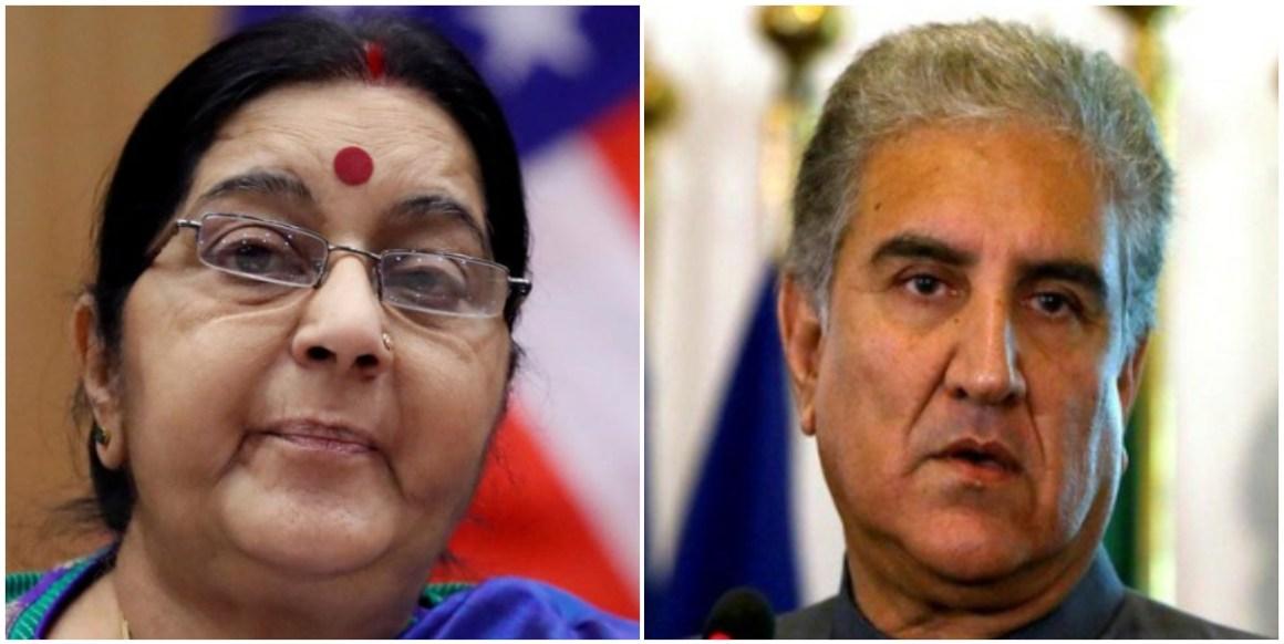 भारत की विदेश मंत्री सुषमा स्वराज और पाकिस्तान के विदेश मंत्री शाह महमूद क़ुरैशी. (फोटो साभार: रॉयटर्स/एएनआई)