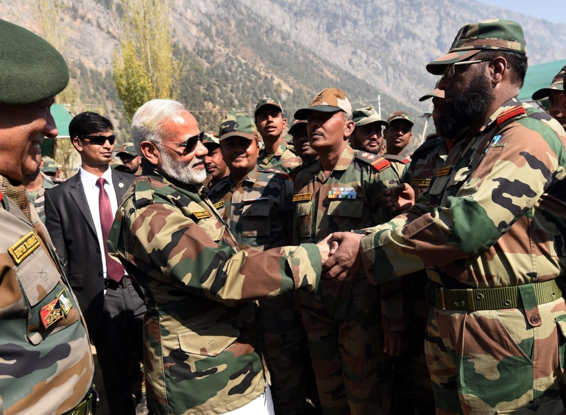 The Prime Minister, Shri Narendra Modi celebrating the Diwali with the jawans of  the Indian Army and BSF, in the Gurez Valley, near the Line of Control, in Jammu and Kashmir, on October 19, 2017.