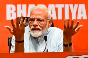 New Delhi: Prime Minister Narendra Modi during a press conference at the party headquarter in New Delhi, Friday, May 17, 2019. (PTI Photo/Manvender Vashist)