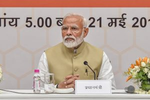 New Delhi: Prime Minister Narendra Modi during a 'thanksgiving' meeting with the Union council of ministers at BJP headquarters, in New Delhi, Tuesday, May 21, 2019, two days ahead of Lok Sabha polls results. (PTI Photo/Manvender Vashist) (PTI5_21_2019_000121B)